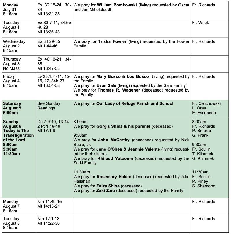 Mass Schedule & Intentions